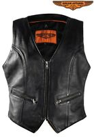 Women's Concealed Carry Leather Vest With Gun Pocket - Free Shipping