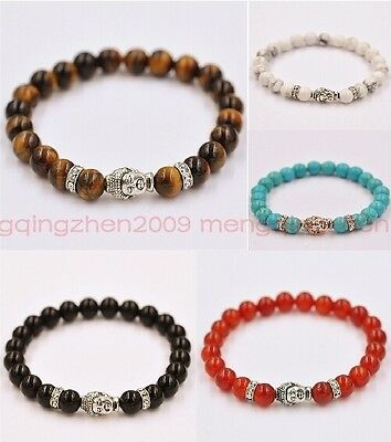 Fashion natural Color stone beads 8 mm Tibetan silver Buddha lucky man bracelet