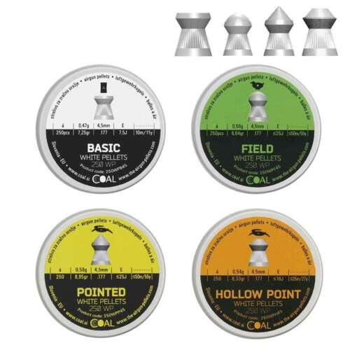 Hollow Point Spitz Basic 4,5 mm Field 4x250 Coal White Pellets