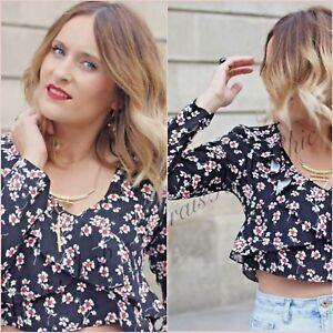 fc1061ce Details about Zara Black Floral Long Sleeve Crop Top Size UK 6 8 12 14 XS S  L XL Blogger ❤