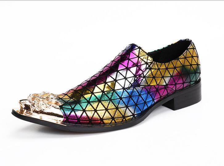 Uomo Pelle Rainbow Colors Metal Pointed Toe Dress Formal Scarpe Party Low Heels