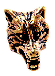 Bart Pearl Hair Bronze Wolf Head Moustache Beard Jewelry Piece / Pair 2003