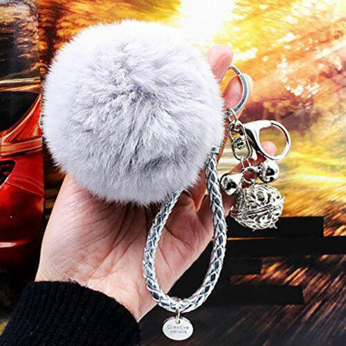 Cute Pom Pom Keychain Plush Ball Keyring Fluffy Car Hanging Ornament Bag Pendant