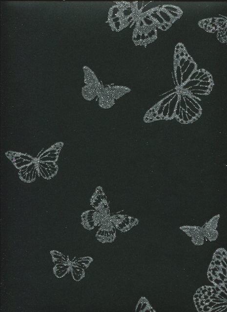 Sparkle Sparkle Sparkle Noir Argent Paillettes Papillons Papillon