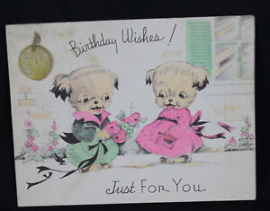 Image Is Loading Vintage Birthday Greeting Card 1950s 2 Dogs Couple