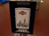 Wwii Pinup Girl Harley Davidson Us Army Zippo Lighter Mint In Box