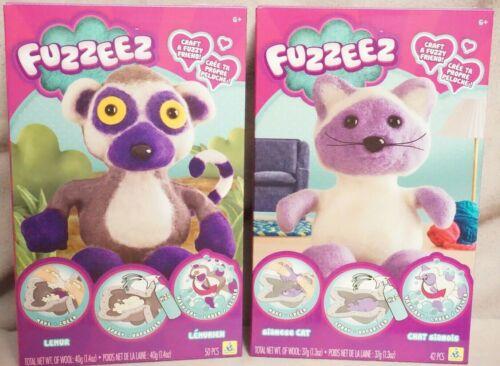 ORB FACTORY FUZZEEZ Siamese Cat /& Lemur Plush Craft Kit Fuzzy Lot of 2 NEW