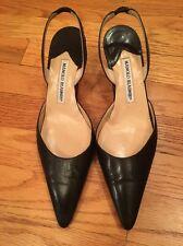Manolo Blahnik Black Slingback Leather Shoes Size 39