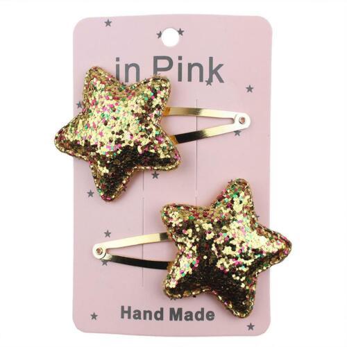 Women Girls Glitter Star Sky Hair Clips Hair Snap Hairpins Geometric Accessorie