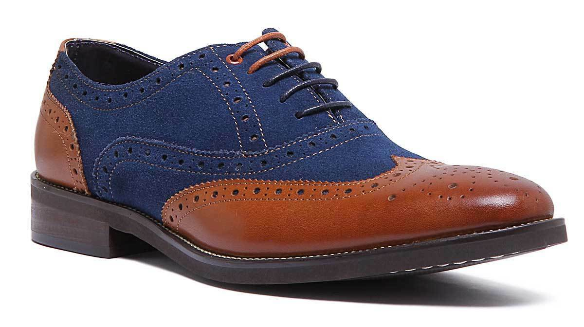 Justin Reece Lace up Tan Leather Navy Suede Combination Brogue Size