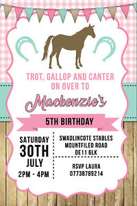 Image Is Loading Personalised Horse Riding Pony Birthday Party Invites Inc