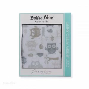 NEW-Bubba-Blue-Mod-the-Owl-1-pk-Jersey-Cot-Fitted-Sheet