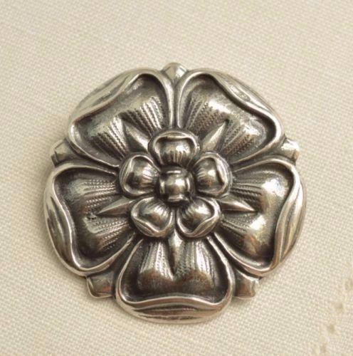 Enorme VINTAGE Scandinavian argentoo Sterling Ciondolo a Forma di Fiore Fiore Fiore Floreale Spilla di 22 grammi b2d3d2