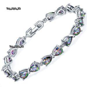 Silver-amp-Black-Fire-Opal-Tennis-Bracelet-Women-Gifts-for-Her-Wife-Mum-Lady-J657