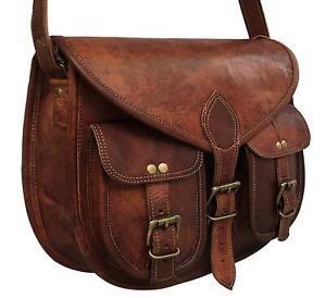 Bag-Women-Vintage-Style-Genuine-Brown-Leather-Cross-Body-Shoulder-Handmade-Purse