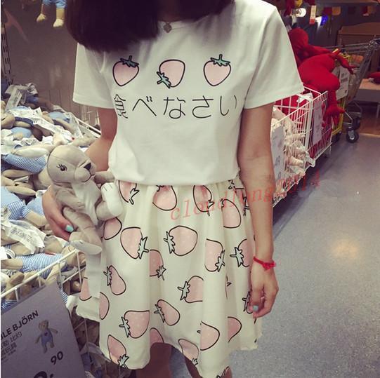 New Girls Summer Day Lolita Kawaii Sweet Strawberry Costume lovely T-shirt