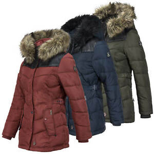 Details zu Khujo Damen Winterjacke Steppjacke Jacke mit abnehmbarer Kapuze Kunstfell Besatz