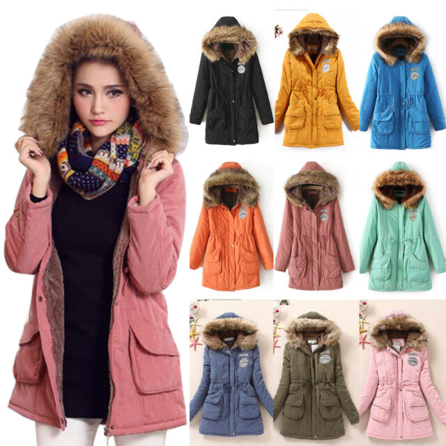 New Womens Thicken Fleece Faux Fur Warm Winter Coat Hooded Parka Overcoat Jacket