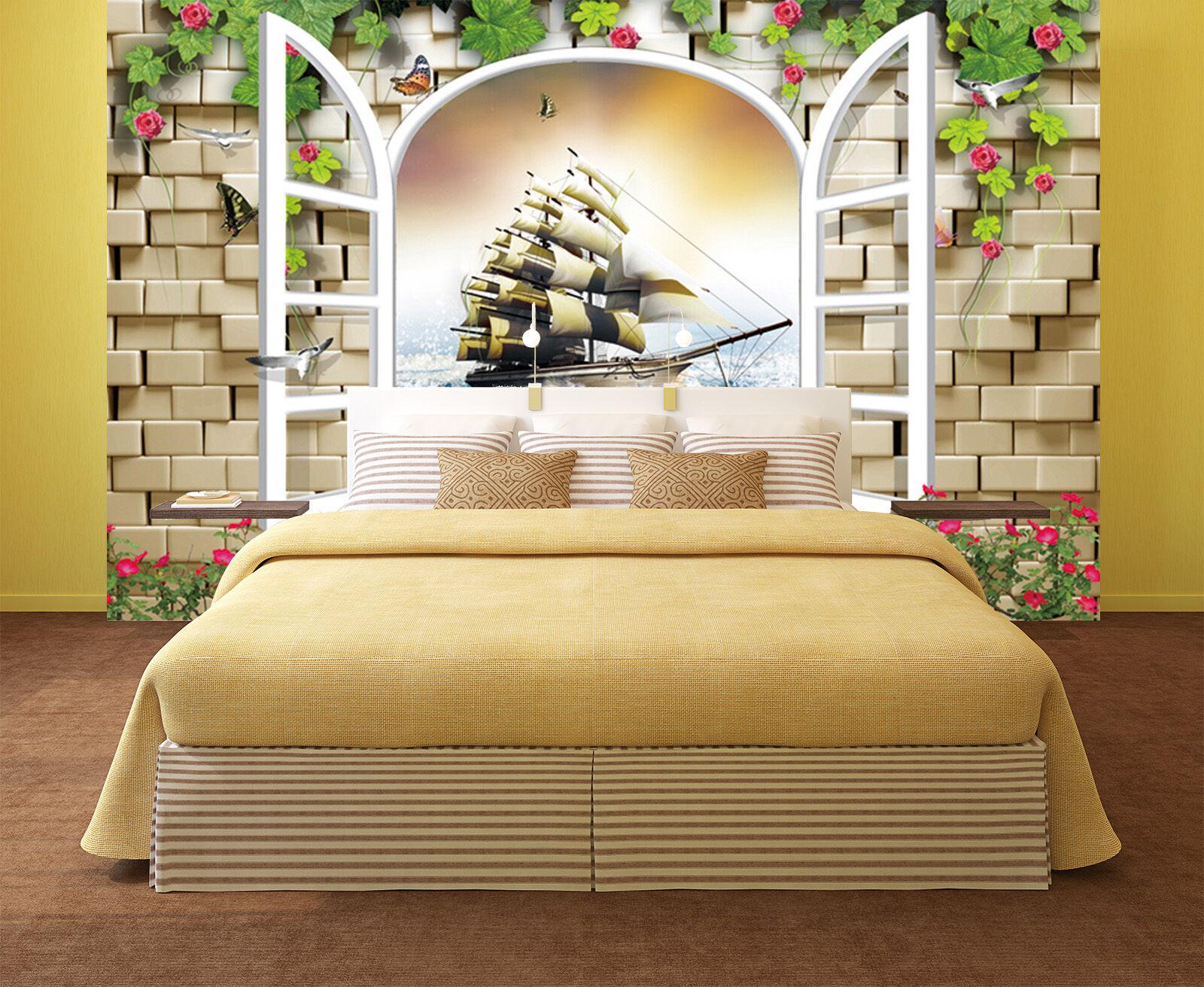 3D Beautiful sailboat 678 Wall Paper Print Wall Decal Deco Indoor Wall Murals
