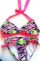 Justice Girls Pink Zebra Peace Bikini Swimsuit Sz 6 Top 8 Bot Summer