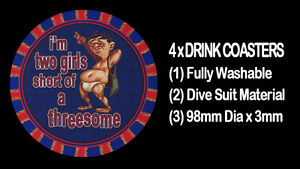 4-x-I-039-M-TWO-GIRLS-SHORT-OF-A-THREESOME-SEXY-RISQUE-FUNNY-DRINK-COASTERS