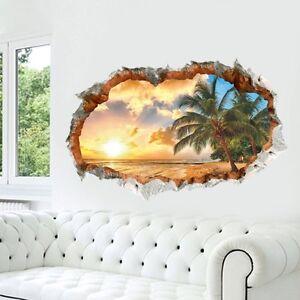 Details zu Sonnenuntergang Wandtattoo Wandsticker Kinderzimmer Ausblick  Palme Meer 3D #93