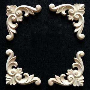 4x-Holz-Schnitzerei-Verzierungen-Holzornamente-Holzzierteile-Moebel-Ornamente-6cm