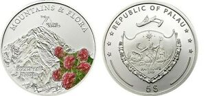 2011-Palau-Large-Proof-Color-Silver-5-Flowers-Mount-DYKH-TAU