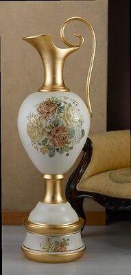 Anfora Gigante In Ceramica Avorio Foglia Oro Decoro Fiori Via Veneto Arredo Casa