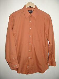 Haggar-Mens-Size-M-15-15-1-2-32-33-Burnt-Orange-Long-Sleeve-Dress-Shirt-212-9195