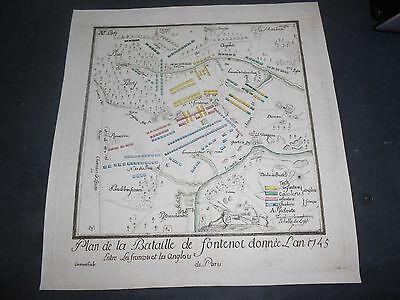 1794 Copper Engraved Battle Of Fontenoi Belgium Engraver Carront