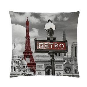 Global-Labels-140-Staedte-034-Paris-034-Kissen-Polyester-40-x-40-cm-Sammlerstueck-Deko