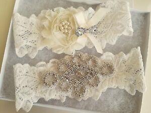 Wedding-garter-Bridal-Garter-Set-CRYSTAL-OFF-WHITE-IVORY-Wedding-Garter-Set