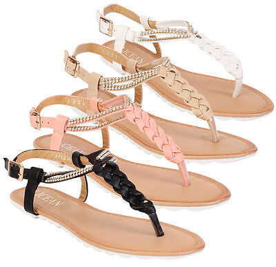 Womens Ladies Sandals Diamante Summer Toe Post Flat Beach Shoes Flip Flops