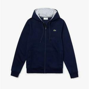 Lacoste-Men-039-s-SZ-XL-6-Full-Zip-Hoodie-Fleece-Sweatshirt-Navy-Blue