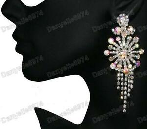3-034-LONG-diamante-AB-CRYSTAL-rhinestone-BIG-sunburst-CHANDELIER-EARRINGS-sparkly