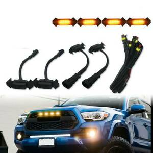 Smoke-Front-Grille-Amber-LED-Lights-4PCS-for-16-up-Toyota-Tacoma-w-TRD-Pro-Grill