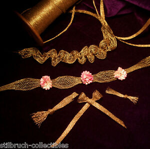 Antique-vtg-gold-metal-trim-mesh-ruch-lace-rococo-ribbon-work-rosette-doll-1-5-034