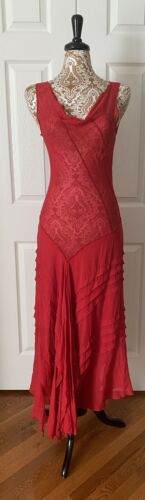 Gorgeous Red 90's does 30's vintage dress chiffon