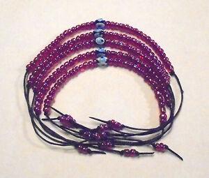 5-Glueck-Freundschaftsbaender-Tuerkisches-Auge-Nazar-Perle-dunkelrot-einfarbig-Top