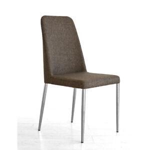 Dettagli su TUONI set 4 sedie Evelina imbottite tessuto o pelle struttura  metallo soggiorno