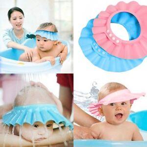 Baby-Duschkappe-Kinder-Duschhaube-Badehaube-Badekappe-Augenschutz-Bath-Neu-1835
