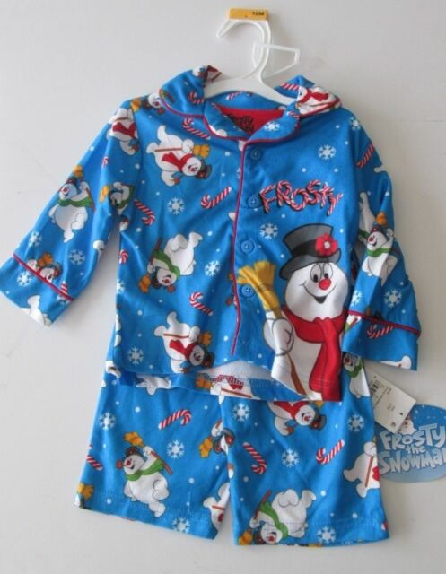 Toddler Boys Frosty The Snowman 2 Piece Button Up Blue Holiday Christmas Pajamas