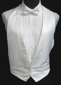 abbe2a21c5e Boys White Satin Open Back Tuxedo Vest Wedding Prom Formal *Jacket ...