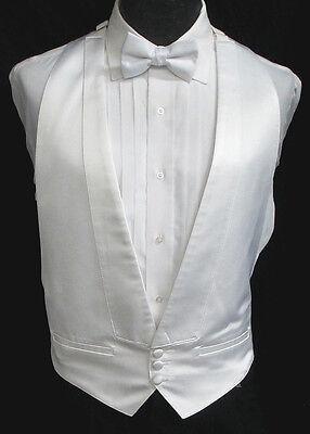 Boys Black Satin Open Back Tuxedo Vest /& Bow Tie Wedding Ringbearer Formal
