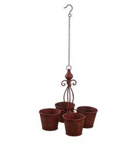 5 inch Rustic Metal Pots 31 inch Hanging Flower Pot Planter Chandelier Four 4