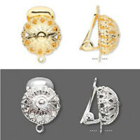 Filigree Domed Ball Clip On Earring Findings Ear Clips Gold 14k Or Silver Plated