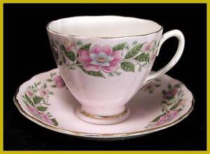 Colclough-Pink-Floral-Cups-amp-Saucers