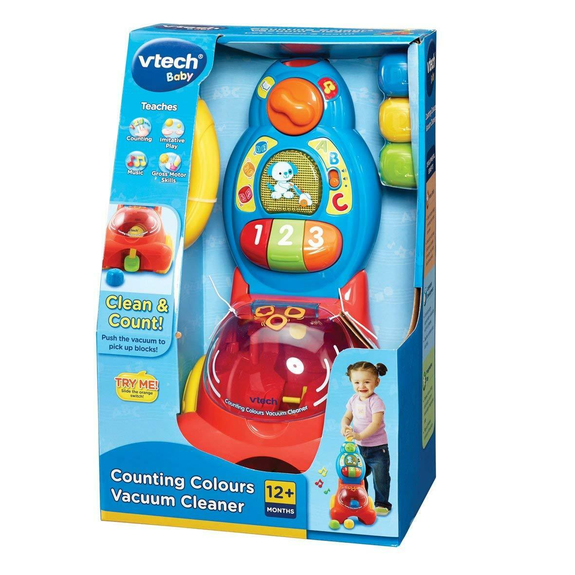 VTech Baby Counting Colours Vacuum Cleaner Hoover Kids Music Sounds Toy - Age 1+