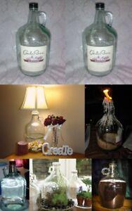 2-One-Gallon-4-Lt-Glass-Wine-Jug-Art-Grow-Craft-Beer-Brew-Beverage-Water-Storage